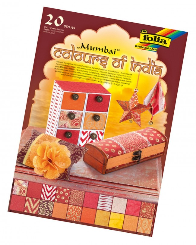 "Natural paper ""Colours of India"" MUMBAI 20 sheets, DIN A4, red/orange assorted"