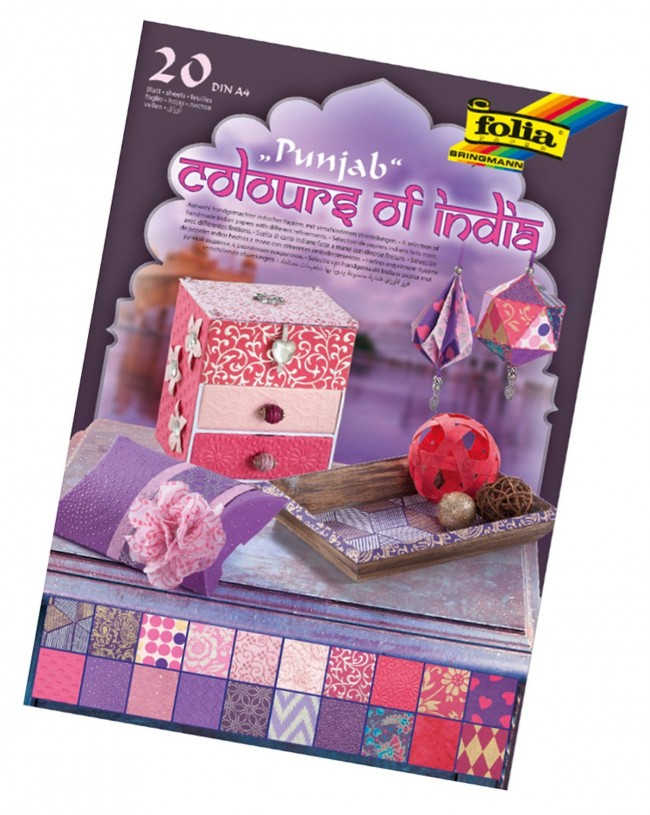 "Natural paper ""Colours of India"" PUNJAB 20 sheets, DIN A4, rose/purple assorted"