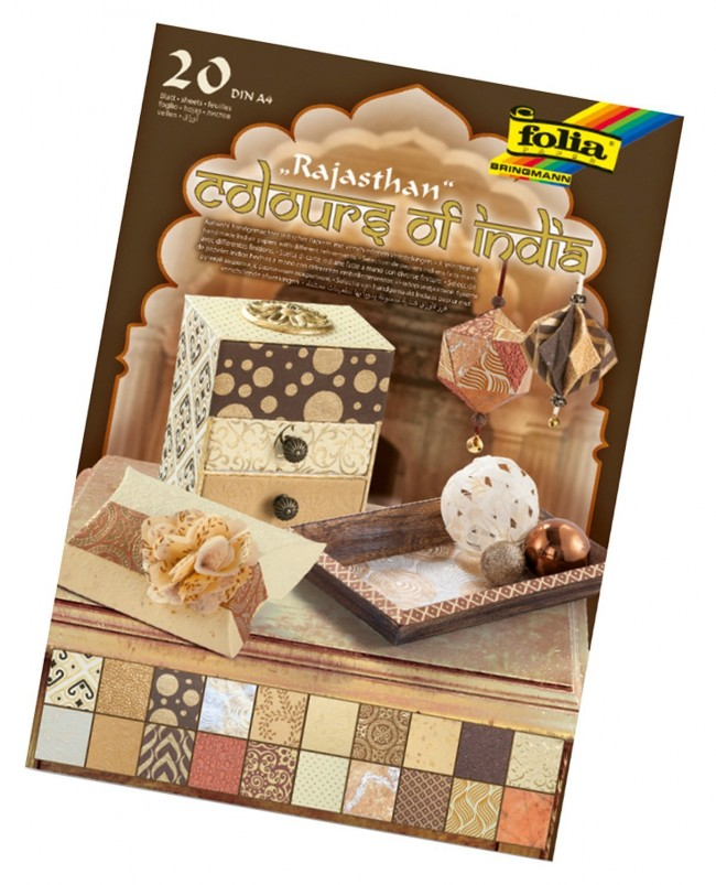"""Natural paper """"Colours of India"""" RAJASTH 20 sheets, DIN A4, gold/brown assorted"""