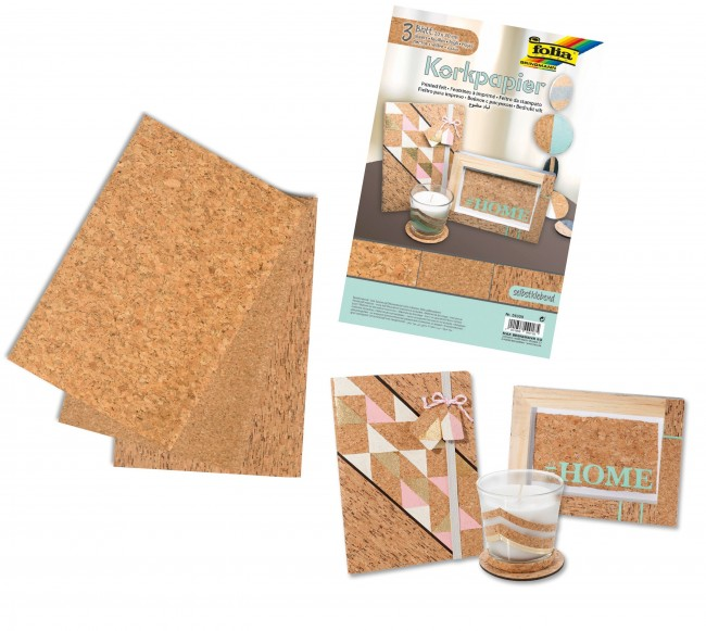 Cork-Paper self adhesive, 20x30cm 3 sheets in 3 motifs assorted