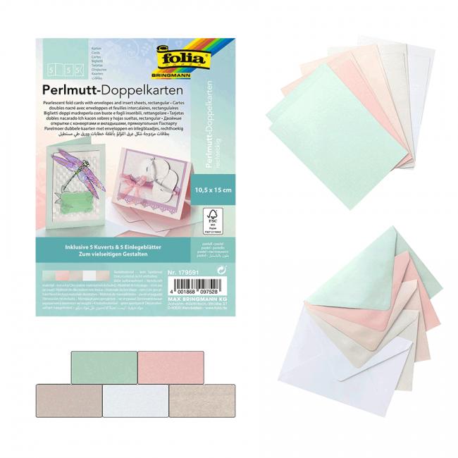 Cards-rectangular pearlescent cardboard PASTEL incl. Cards & envelopes, 250g/mІ, 10,5x15cm