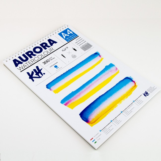 Watercolour Pad Aurora 300gsm A4, 12 Sheets, Cold Pressed, Spiral Bound
