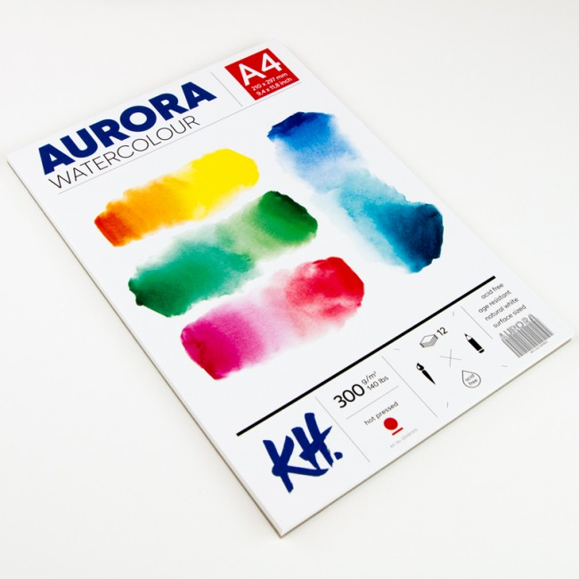 Watercolour Pad Aurora 300gsm A4, 12 Sheets, Hot Pressed