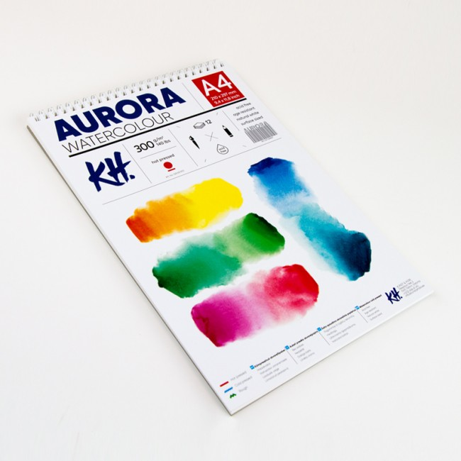 Watercolour Pad Aurora 300gsm A4, 12 Sheets, Hot Pressed, Spiral Bound