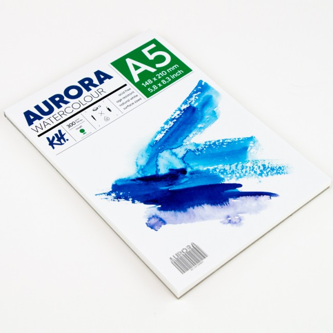 Watercolour Pad Aurora 300gsm A5, 12 Sheets, Rough