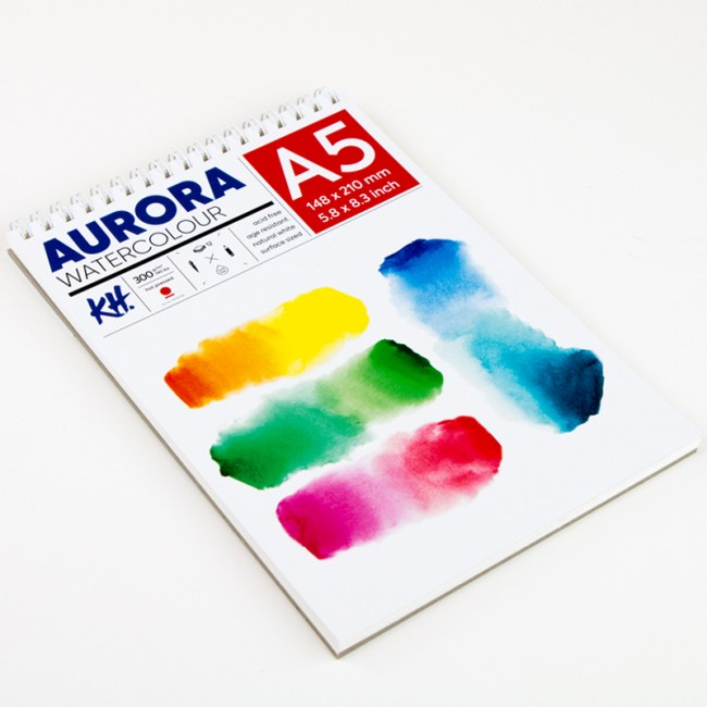 Watercolour Pad Aurora 300gsm A5, 12 Sheets, Hot Pressed, Spiral Bound