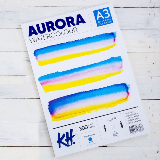 Watercolour Pad Aurora 300gsm A3, 12 Sheets, Cold Pressed