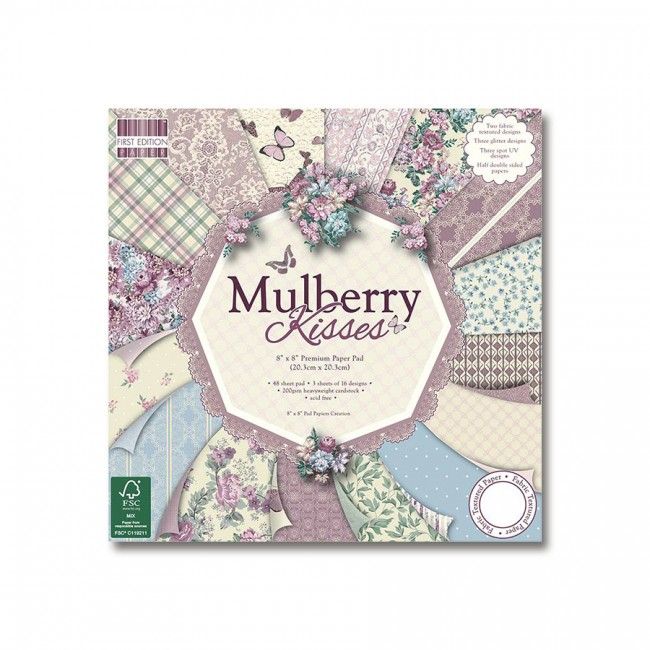 Paper and Cardstock pads 20x20cm, Mulberry Kisses