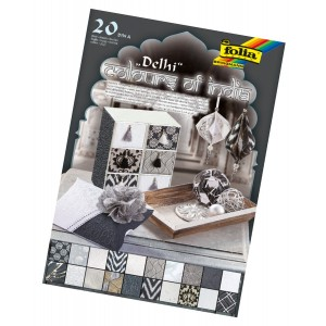 """Natural paper """"Colours of India"""" DELHI 20 sheets, DIN A4, silver/white/black as"""