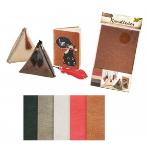Synthetic leather, 17x27cm 5 sheets in 5 colours assorted