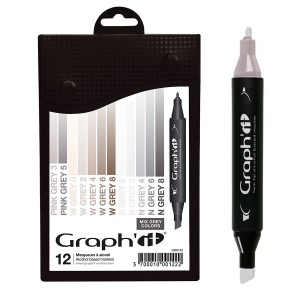 GRAPH'IT Marker, Set of 12 - Mix greys