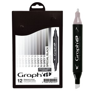 GRAPH'IT Marker, Set of 12 - Neutral Greys