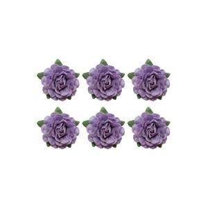 Tea Roses' Flowers, -18 Mm Diameter, 6 Pcs, Purple