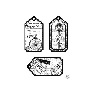 """Silicone Stamp """"Tags-Bicycle"""" 14 X 18 Cm"""