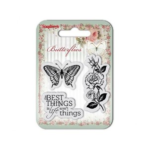 Set Of Clear Rubber Stamps 7*7 Cm Butterflies No.