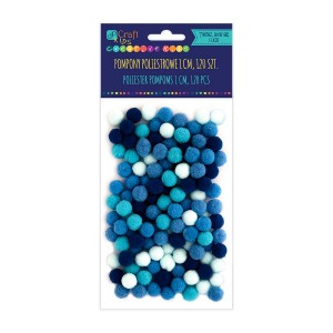 Acrylic  Pom Poms,120Pcs,Mix Blue