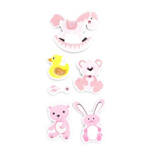 3D Glitter Stickers - Stuffed Toys, 6 Pcs - Pink