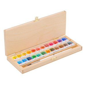 Water colour 24 pan Set, wooden box,squirrel brush