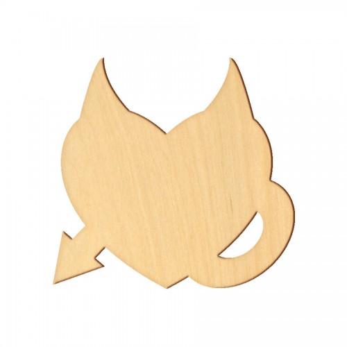 """Wooden pc. for art 358 """"Heart with horns"""" 9х9 cm"""