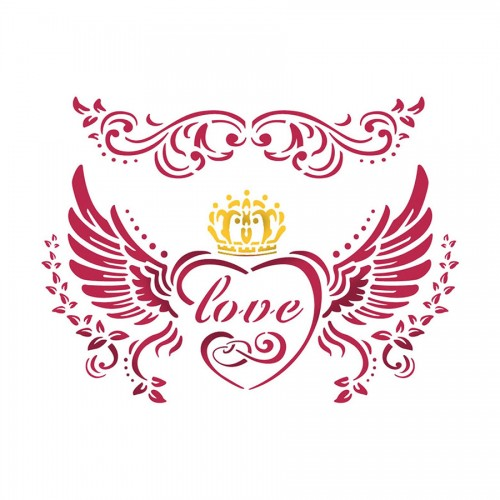 Stencil D  cm. 20x15 Love with wings