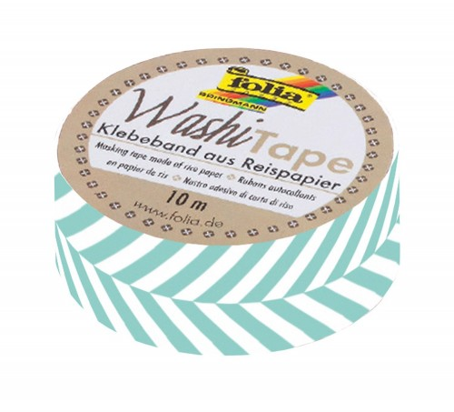 Washi-Tape, 15mmx10m Stripes turquoise