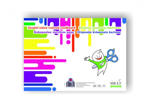 Double-sided colored cardboard,A3, 190gsm, 16 sheets (8 colors x2)