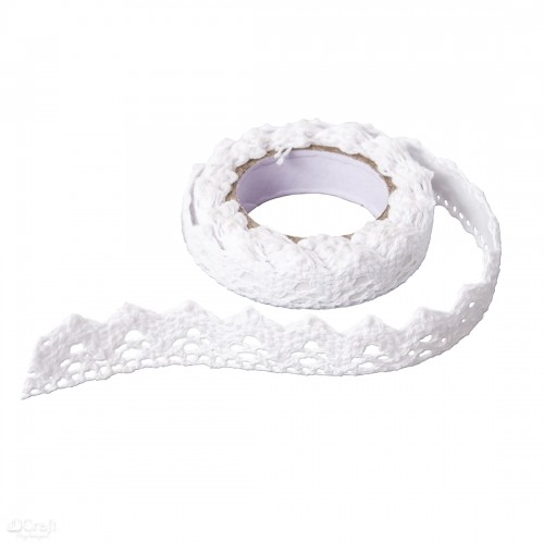 ADHESIVE COTTON LACE 1,8 M - WHITE