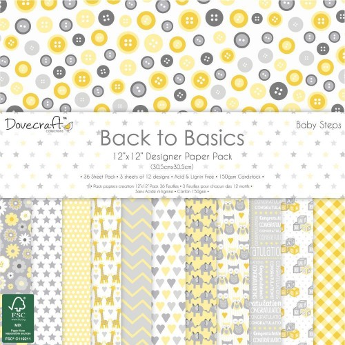 "Bright Spark 6/"" x 6/"" 12 Sheets Dovecraft Papers Back to Basics 150gs"