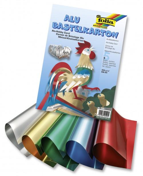 Alu-Foil cardboard, 300g/mІ DIN A4, 5 sh., asstd. col.
