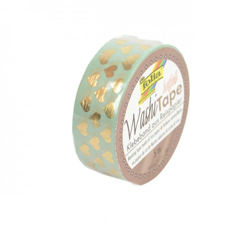Washi-Tape, 15mmx5m HOTFOIL GOLD hearts