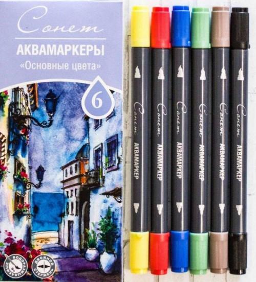 Aqua marker, set, Sonet, 6pcs. Primary colors