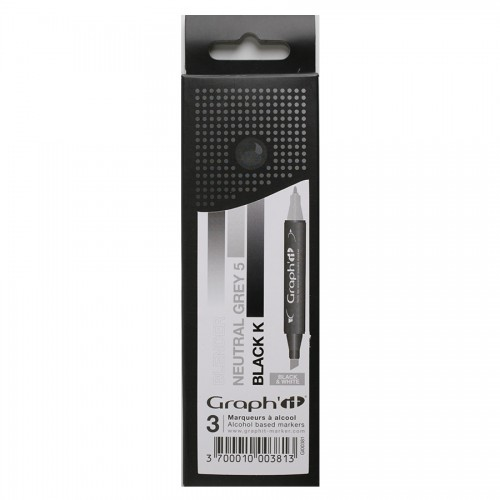 GRAPH'IT Marker, Set of 3 - Black & White
