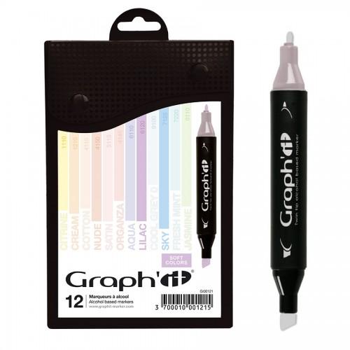 GRAPH'IT Marker, Set of 12 - Pastels - Soft