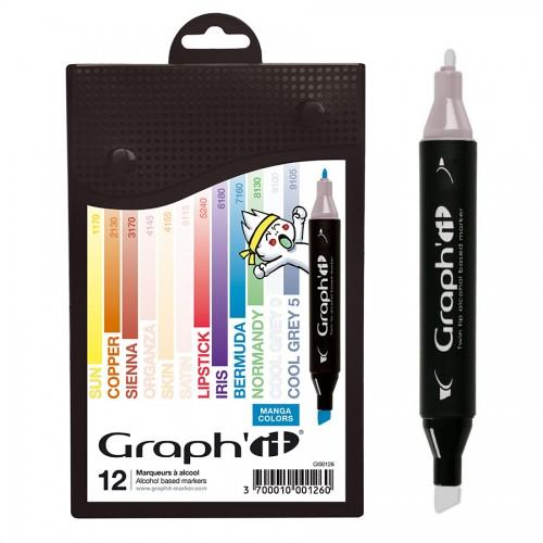 GRAPH'IT Marker, Set of 12 - Manga