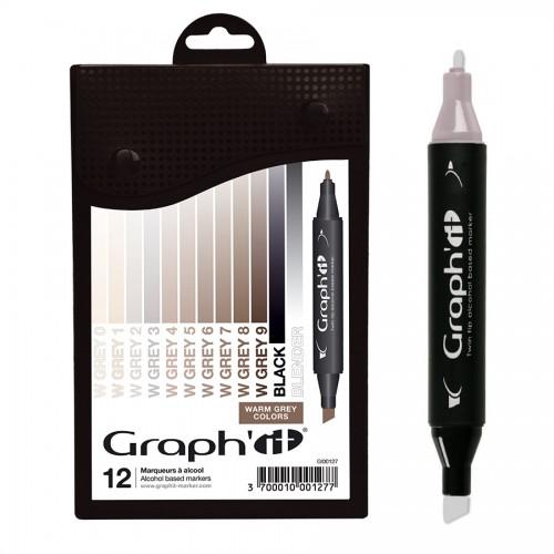 GRAPH'IT Marker, Set of 12 - Warm Greys