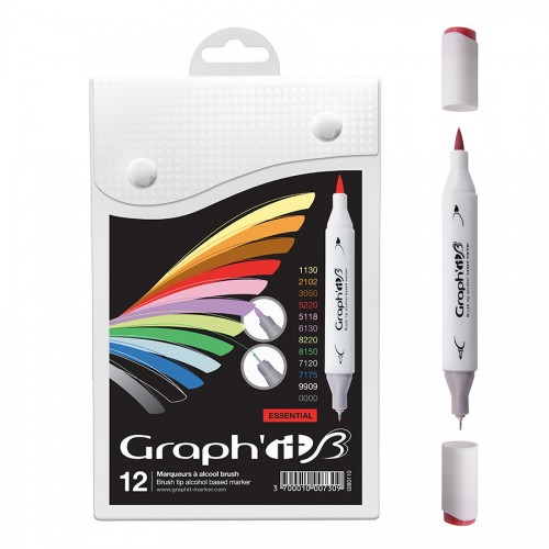 Graph'it Brush Marker Set of 12 Brush Markers - Essential