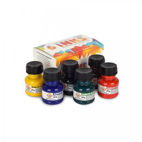 Draw Inks Set 6X20Ml, Koh-I-Noor