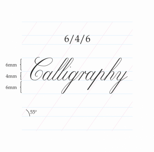 Copperplate Calligraphy 6/4/6 mm – A4 Paper Pad (Portrait)