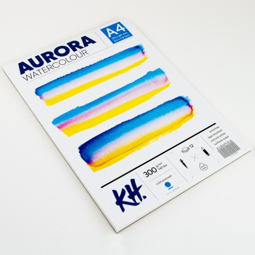 Watercolour Pad Aurora 300gsm A4, 12 Sheets, Cold Pressed