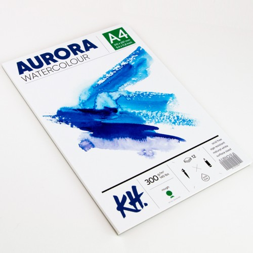 Watercolour Pad Aurora 300gsm A4, 12 Sheets, Rough