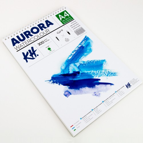 Watercolour Pad Aurora 300gsm A4, 12 Sheets, Rough, Spiral Bound