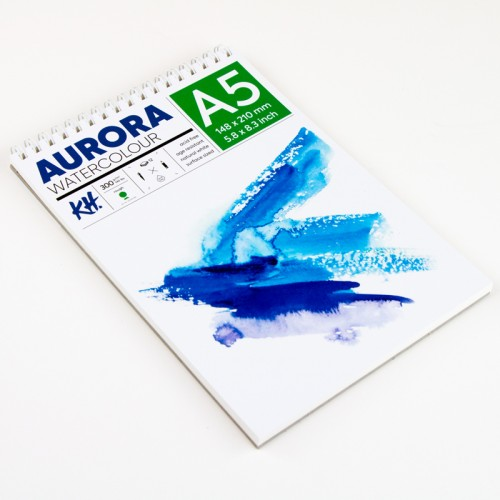 Watercolour Pad Aurora 300gsm A5, 12 Sheets, Cold Pressed, Spiral Bound