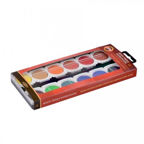 Artists watercolours OPAQUE set 12pcs KOH-I-NOOR