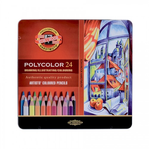 "Set Of Artist Colored Pencils ""Polycolor"" 24Pcs"