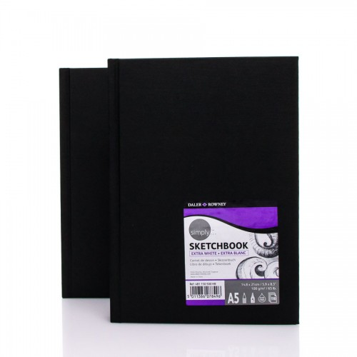 """Sketchbook  """"Simply"""" A5,110 sh,100g/m """"Extra White"""""""