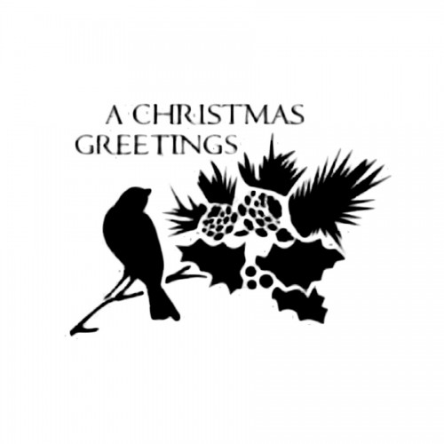 Stencil D Cm.20X15 A Christmas Greeting Bird