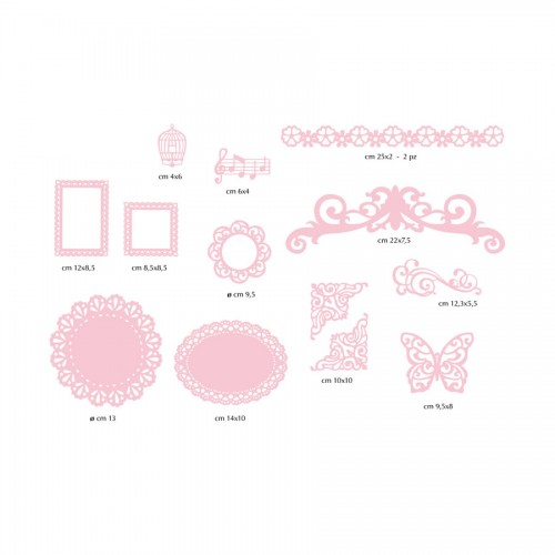 12 Paper Decorations - Pink Paper