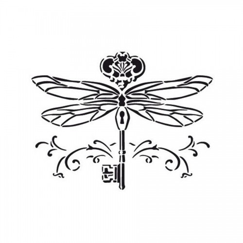 """All-Purpose Stencil A3 """"Golden Key/Dragonfly"""""""