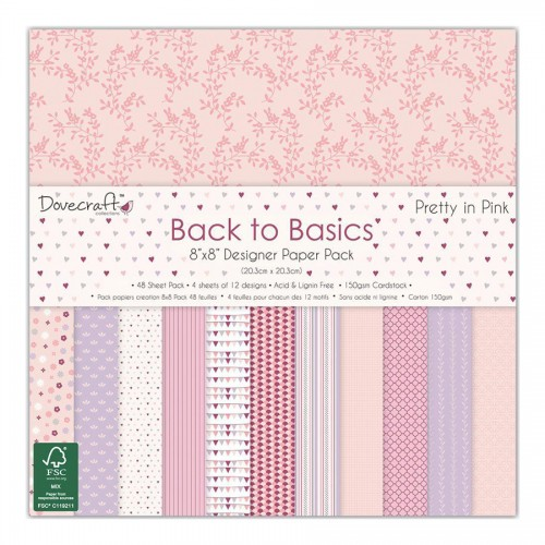 Paper and Cardstock pads 20x20cm, Dovecraft, Pretty In Pink