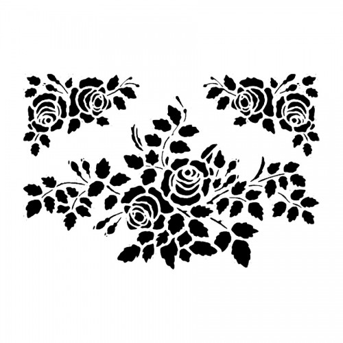 Stencil M Cm.30X44 Roses With Corners